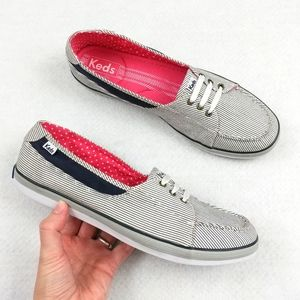 Keds Pinstriped Slip Ons/Boat Shoes Flats Size 10